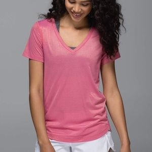 Lululemon What the Sport Tee in Shimmer Pink/Gold